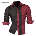 Men Shirt Long Sleeve 2017 Brand Shirts Men Casual Male Slim Fit Fashion Spell Color Chemise Mens Camisas Dress Shirts 4XL