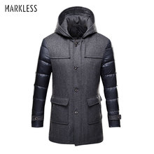 Markless 2017 Thick Long Down Parkas Men Brand Clothing Casual Wool Spliced Hooded Down Jackets Man