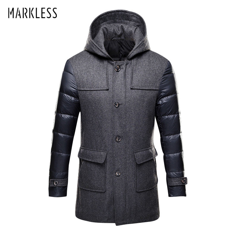 Markless 2017 Thick Long Down Parkas Men Brand Clothing Casual Wool Spliced Hooded Down Jackets Man Fashion Winter Coat YRA7321M