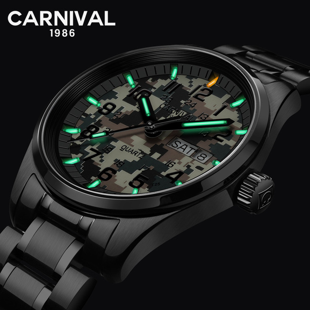 New T25 Tritium Luminous Sport Watch Men Carnival Military Camouflage Quartz Wristwatch Waterproof Male Clock erkek kol saati