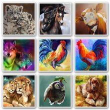 5D Diy Diamond Painting Cross Stitch Horse Chicken Dog Lion Cat Parrot Mosaic Animal Embroidery Full Rhinestones Gift