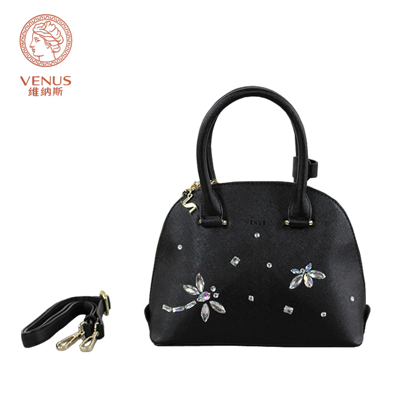 Venus Women Shell Handbags Black Synthetic Frosted Leather With Dragonfly Diamonds Tote Single Shoulder Bag Bolsas Femininas In Top Handle Bags From Luggage