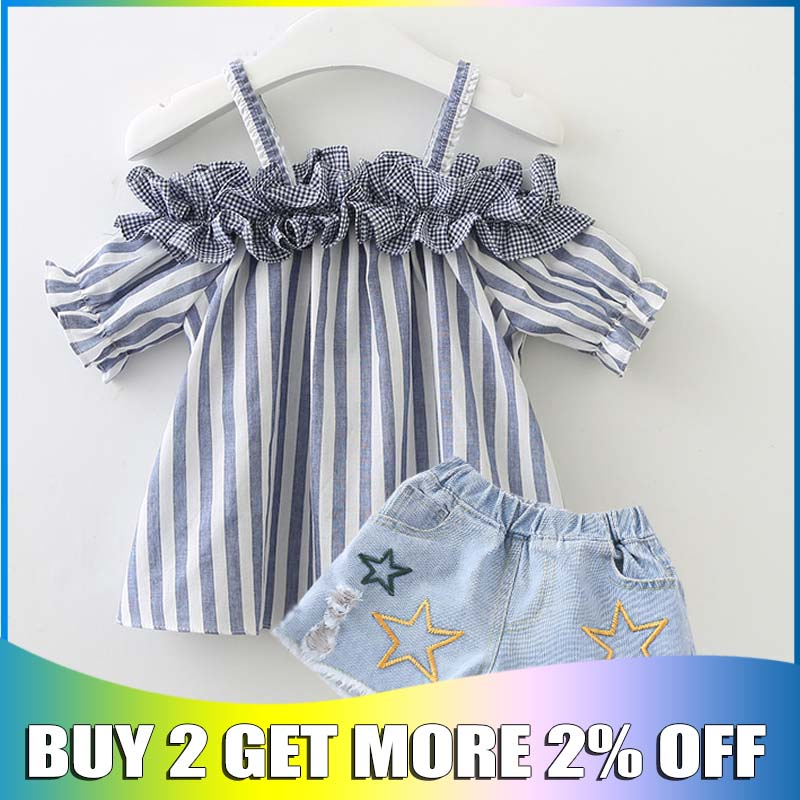 New ladies summer time garments set 2019 trend cotton striped tops+jean shorts 2pcs for teenagers informal trasksuits units youngsters clothes Clothes Units, Low cost Clothes Units, New ladies summer...