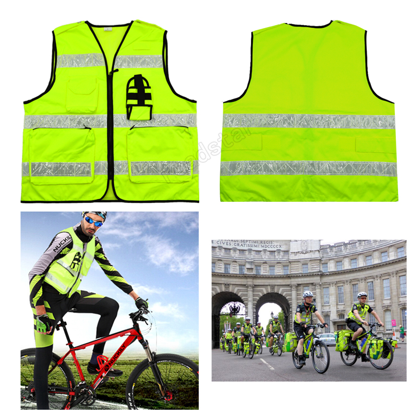 Hot Sell Nylon Reflective Vest with THREE Horizonal Prismatic PVC Reflective Tape for Traffic Safety