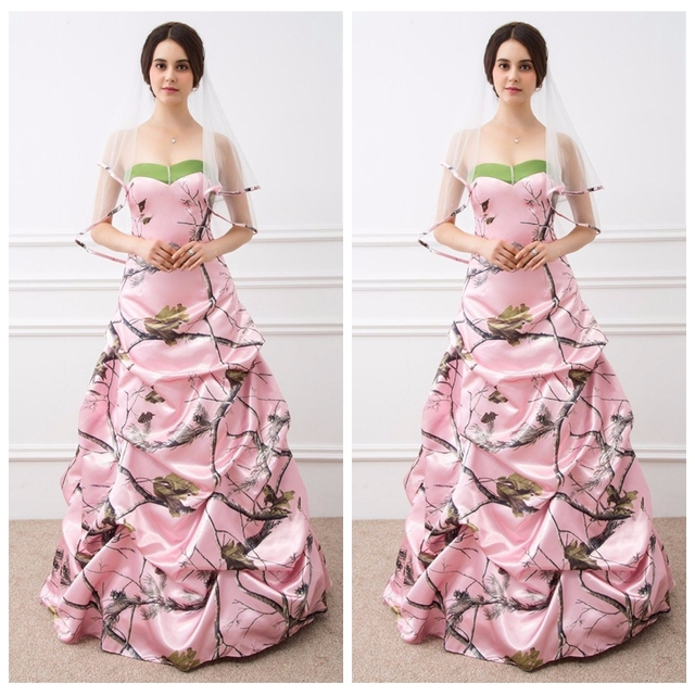 Real Photos Pink Camo Wedding Dress Draped Skirt Hunting Party Bridal Gowns Lace Up Back 2017