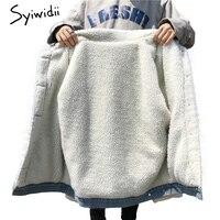 denim jacket for women Winter New 2018 Women lambswool jean Coat Long Sleeves Warm Jeans Coat Outwear loose Wide Vintage velvet