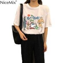 NiceMix Brand New Summer Women T-shirt Print Cartoon Kawaii T Shirt Cotton Tops Tee Harajuku Tshirt Vetement Femme 2019
