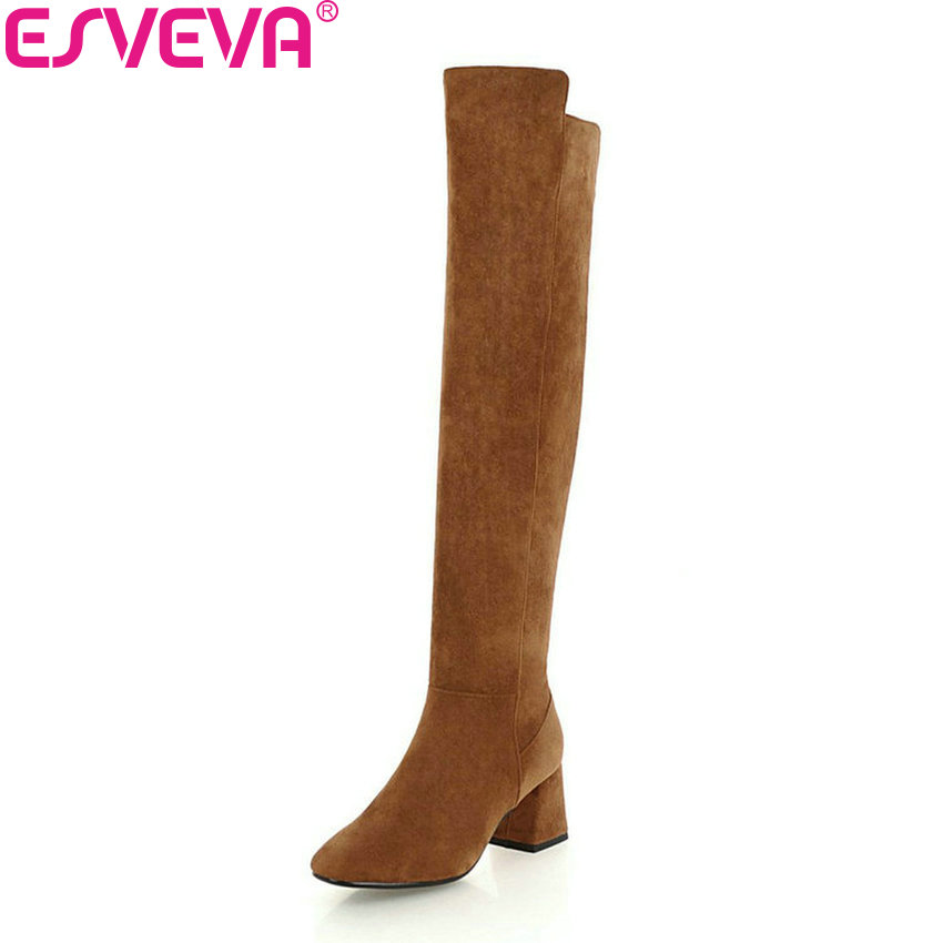 ESVEVA 2019 Shoes Women Square Toe Over The Knee Boots Flock Square High Heels Boots Short Plush Winter Autumn Shoes Size 34-43 esveva 2018 winter women boots over knee high boots real leather scrub boots square heels short plush ladies boots size 34 39