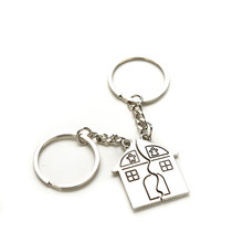 1 Pair Love Key Chains Romantic House Keychain Personalized Souvenirs Lanyard Keyring Valentine's Day Key Fob Gift(China)