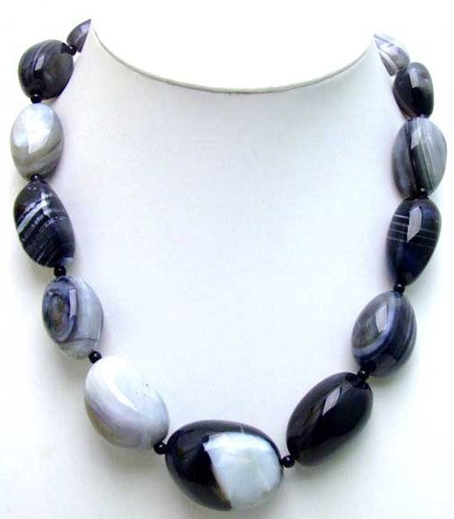 "SALE Big 15-40mm Chunky multicolor black stripe agate 18"" necklace -5464 wholesale/retail Free shipping"