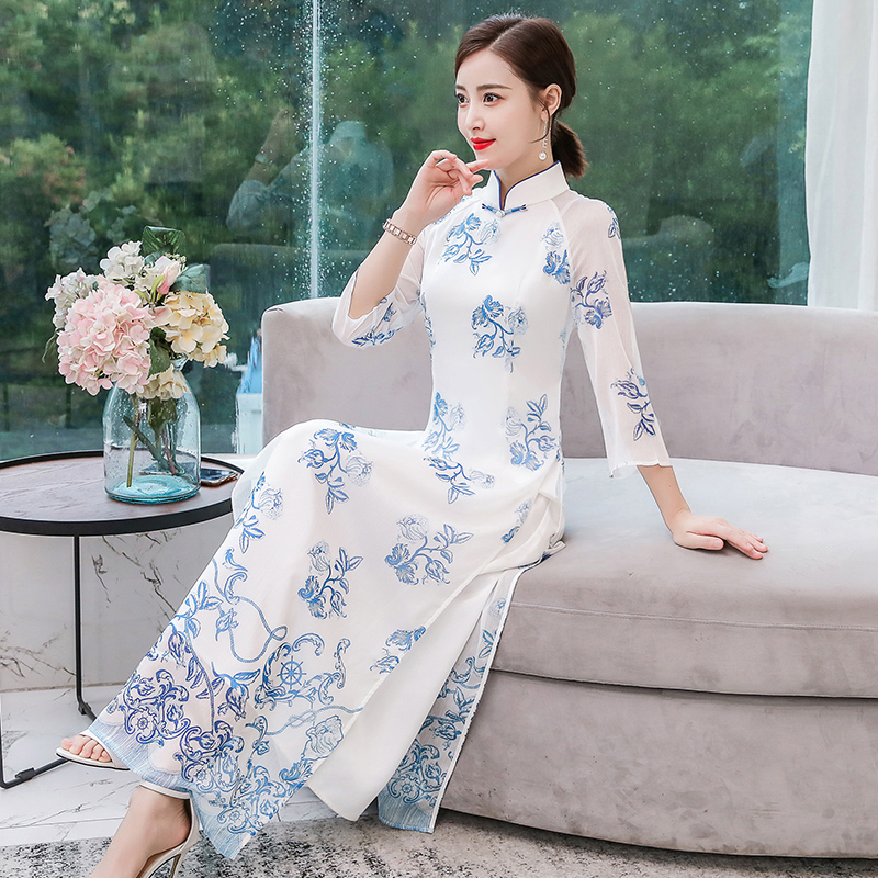 2019 Vietnamese Aodai Vietnam Cheongsam Folk Style Feminine Qipao Chinese Dress For Women Traditional Clothing Floral Ao Dai