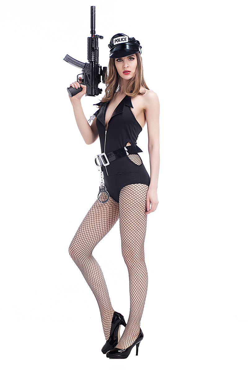 Adult Women Porn Games Outfit Sexy Police Costume Fancy Wetlook Hollow Plunge -5486