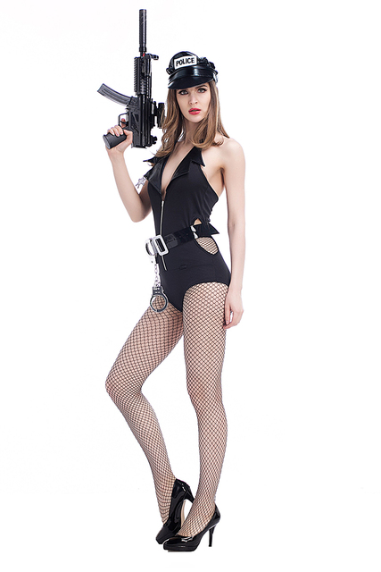 Adult Women Porn Games Outfit Sexy Police Costume Fancy Wetlook Hollow Plunge -8971