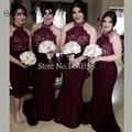 2016 Womens Satin Long Lace Dark Purple Bridesmaid Dress Halter Zipper Back Wedding Guest Vestido De Madrinhas