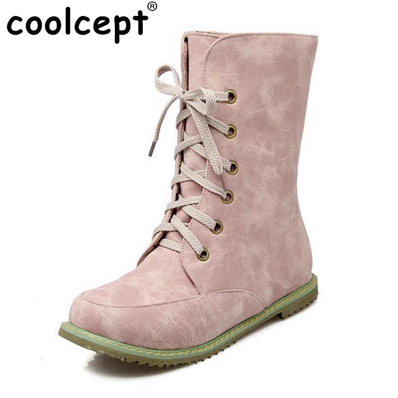 New Woman Round Toe Flat Mid Calf Boots Women Fashion Lace Up Martin Boot Spring Autumn Winter Shoes Footwear Size 30-48 women fashion round toe martin boots woman brand new lace up flat ankle boot ladies buckle wrap footwear shoes size 34 47