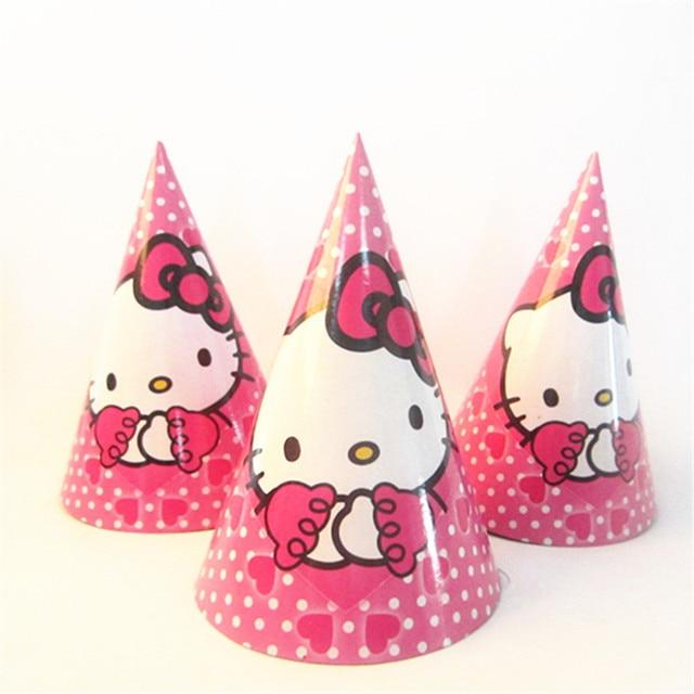 6pcs Hello Kitty Party Supplies Cheering Toys Paper Hat Cartoon Cap Child Birthday Decoratin Baby