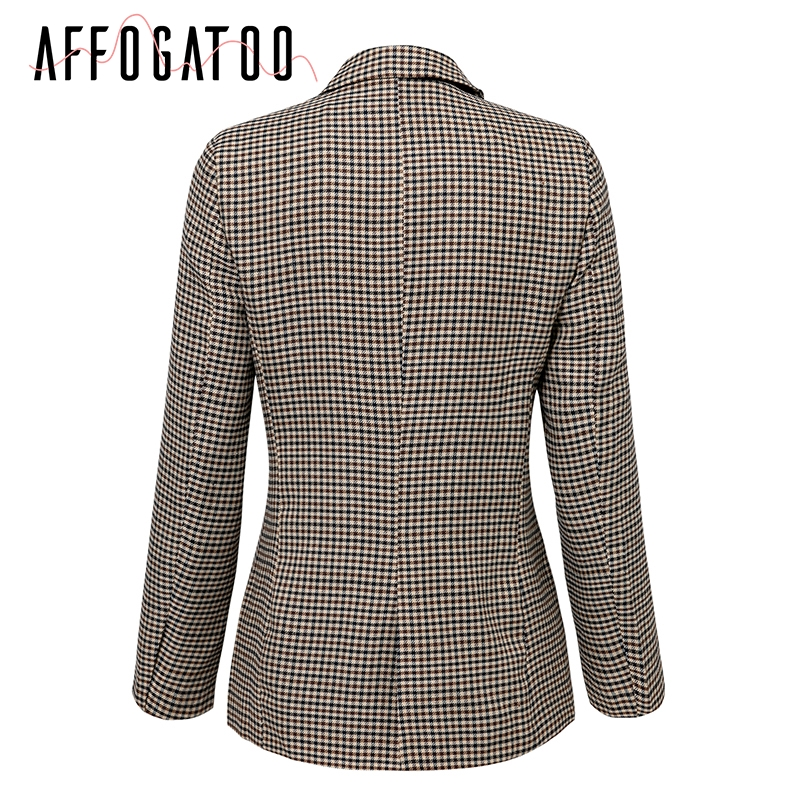 Affogatoo Fashion double breasted plaid blazer women Long sleeve slim OL blazer 18 Casual autumn jacket blazer female 8