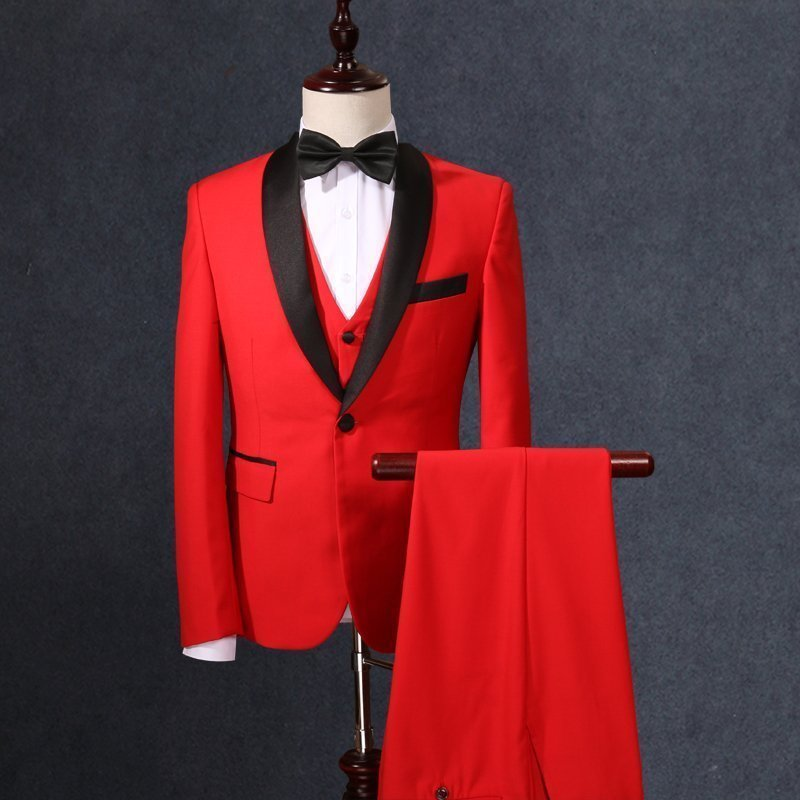 jacket vest pants male wedding suit red fashion slim 3 pieces sets studio shooting groom