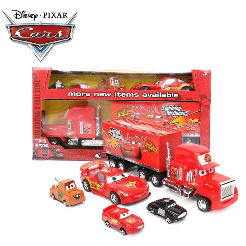 5pcs 7.5-36cm Disney Pixar Cars 3 Toys Super Truck 1:55 Diecast Pull Back Lightning McQueen Mater Mack Uncle Truck ABS Car Model