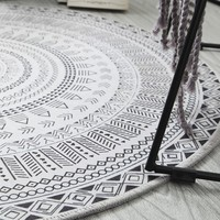 NEW Bohemian Style Mandala Pattern Round Carpet Non Slip Bath Mat Soft Fluffy Coral Velvet Area Rug for Living Room Decor