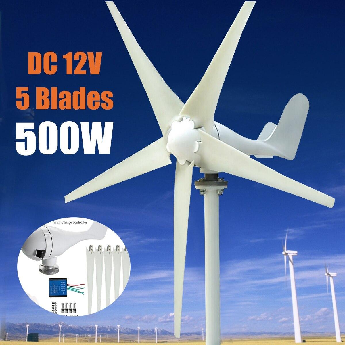 Max 600 Вт ветряной генератор DC 12 В в/24 В в 5 лезвие питание с контроллером заряда для дома Гибридный уличного света Применение