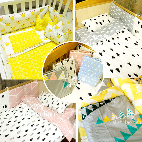 Promotion! 3PCS Cartoon baby bedding crib set 100% cotton baby cot sets baby bed,include(Duvet Cover/Sheet/Pillow Cover)