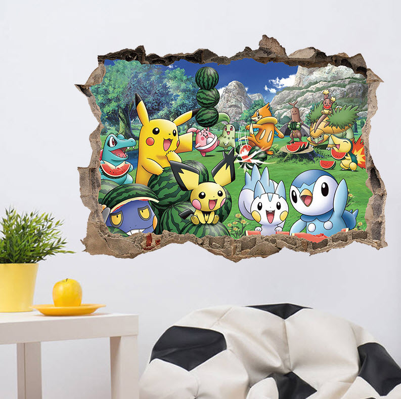 New Pokemons Go Cartoon Pokemons Anime Home Decor Modern For Bedroom Wall  Poster Size 45x60CM 3D Break The Wall Sticker