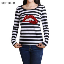 SEPTDEER Fashion Long Sleeved Cotton Slim Black And White Striped Sequin  Red Lips Plus Size Women 54da3e299fad