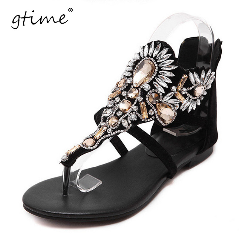 GTIME 2017 New Crystal Gladiator Sandals Summer Flip Flops Casual Shoes Woman Slip On Flats Rhinestone Women Shoes # ZWB86 phyanic 2017 gladiator sandals gold silver shoes woman summer platform wedges glitters creepers casual women shoes phy3323