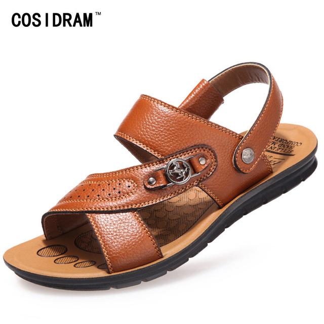 Sandalias de los hombres Zapatillas de Verano Plana Zapatos de Playa Sandalias de Cuero Genuino Cómodo Zapatos Para Caminar Al Aire Libre Ocasionales 2016 RMC-229
