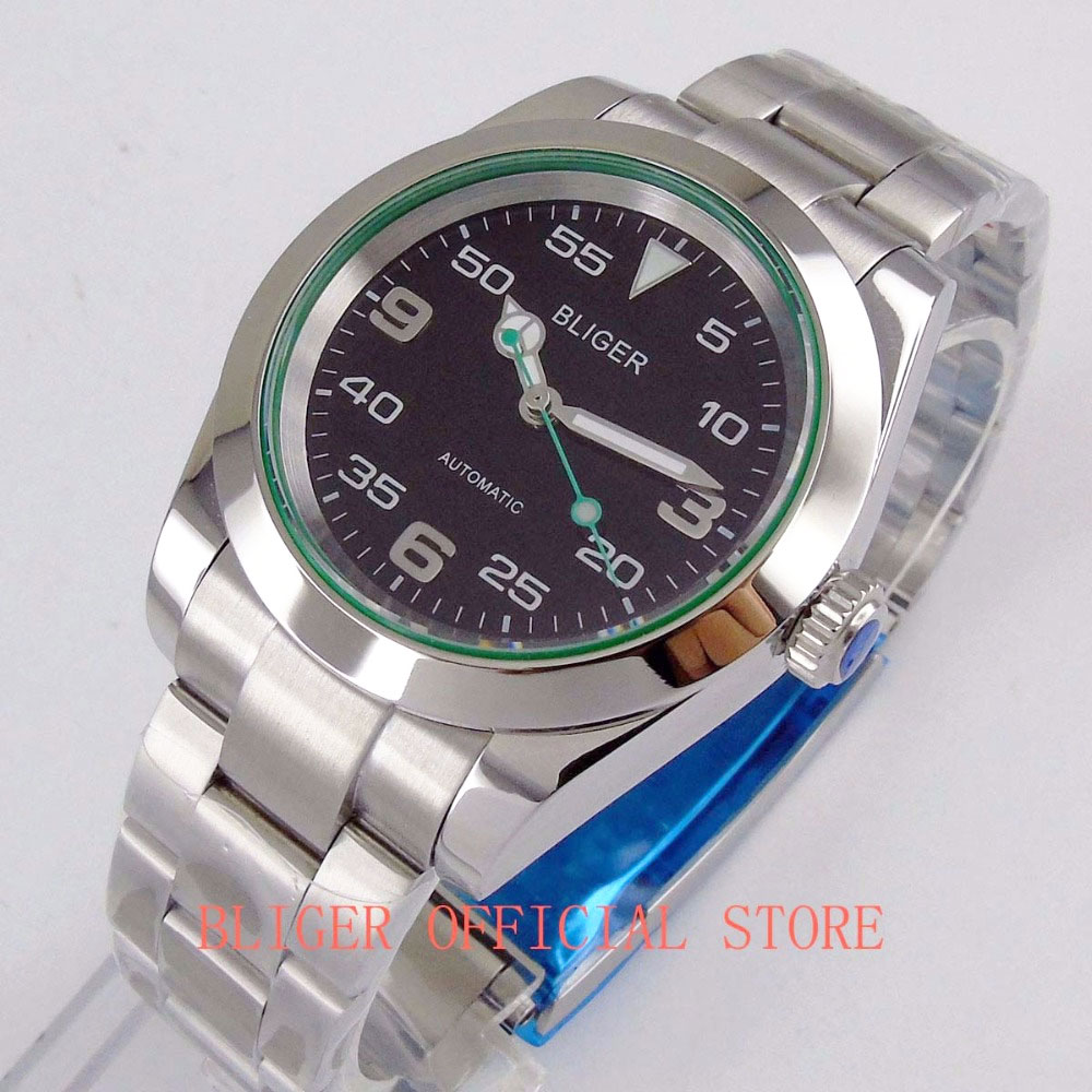 Fashion BLIGER 40mm Sapphire Glass Black Dial Luminous Hand MIYOTA 8215 Automatic Men s Watch