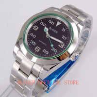 Mode BLIGER 40mm Saphirglas Zifferblatt Schwarz Hand MIYOTA 8215 Automatische herren Uhr
