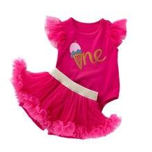 adc54e388bffb Bébé Tulle vêtements ensemble infantile premier anniversaire fête Costumes  d été filles barboteuse Tutu jupe costume nouveau-né .