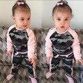 Moda Camuflaje Del Bebé Sistema de la Muchacha Ropa de Invierno Traje de Manga Larga de algodón de las muchachas Top + Pantalones 2 unid Bebé Infantil ropa Fijada