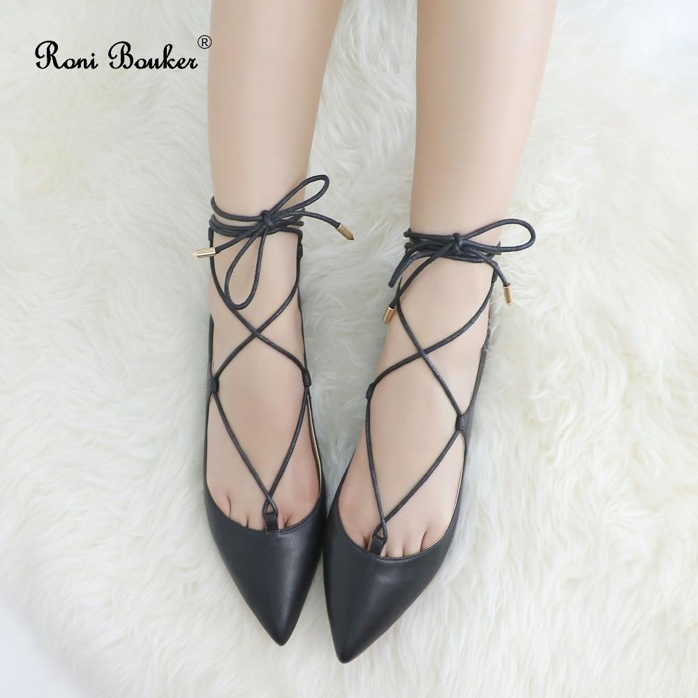Roni bouker 패션 레이디 레이스 업 pointes 신발 여성 수제 가죽 캐주얼 소프트 플랫 여성 발레 플랫 신발 dropshipping-에서여성용 샌들부터 신발 의  그룹 1