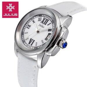Image 3 - למעלה יוליוס גברת נשים של 5 צבעים אוטומטי תאריך שעון יד אלגנטי מעטפת רטרו אופנה שעות צמיד עור ילדה יום הולדת מתנה