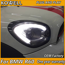 KOWELL سيارة التصميم رئيس مصباح لميني كوبر كونتريمان المصباح 2007 2016 لميني R60 LED المصباح زينون شعاع
