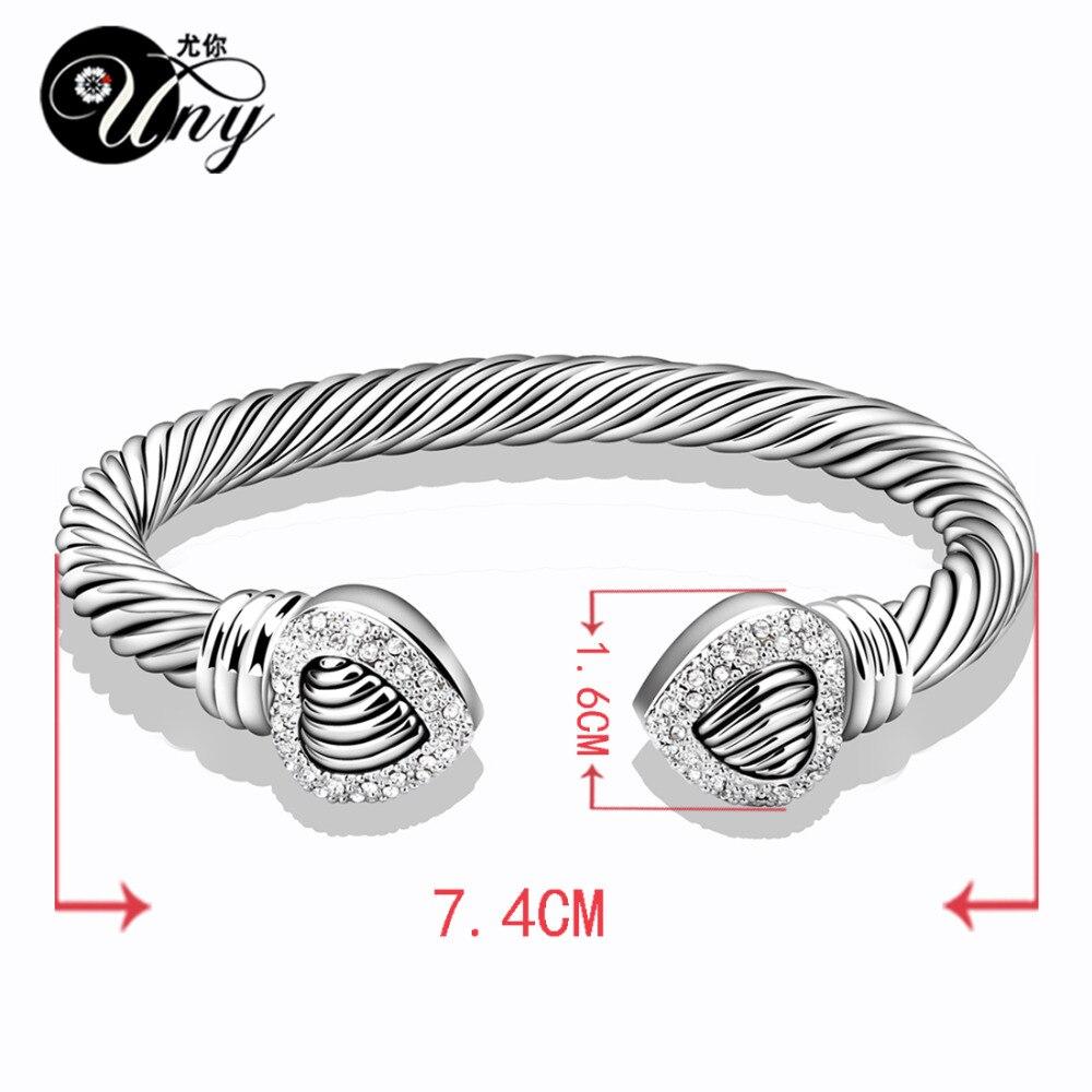UNY Bangle Love Heart Twisted Wire Wire ձեռնաշղթա - Նորաձև զարդեր - Լուսանկար 6