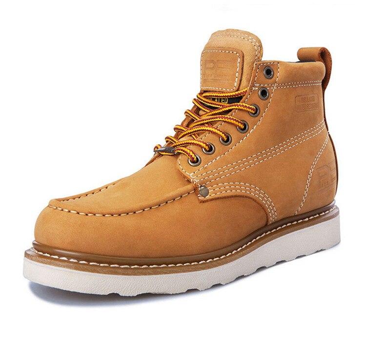 Зимние ботинки, рабочие ботинки, мужские и женские ботинки, кожаные полуботинки в стиле ретро, Повседневная Высокая обувь с квадратным носк
