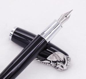 Image 4 - Fuliwen pluma estilográfica cabeza de elefante en tapa, pluma de firma negra delicada, oficina de negocios de plumín medio, hogar, suministros de colegio