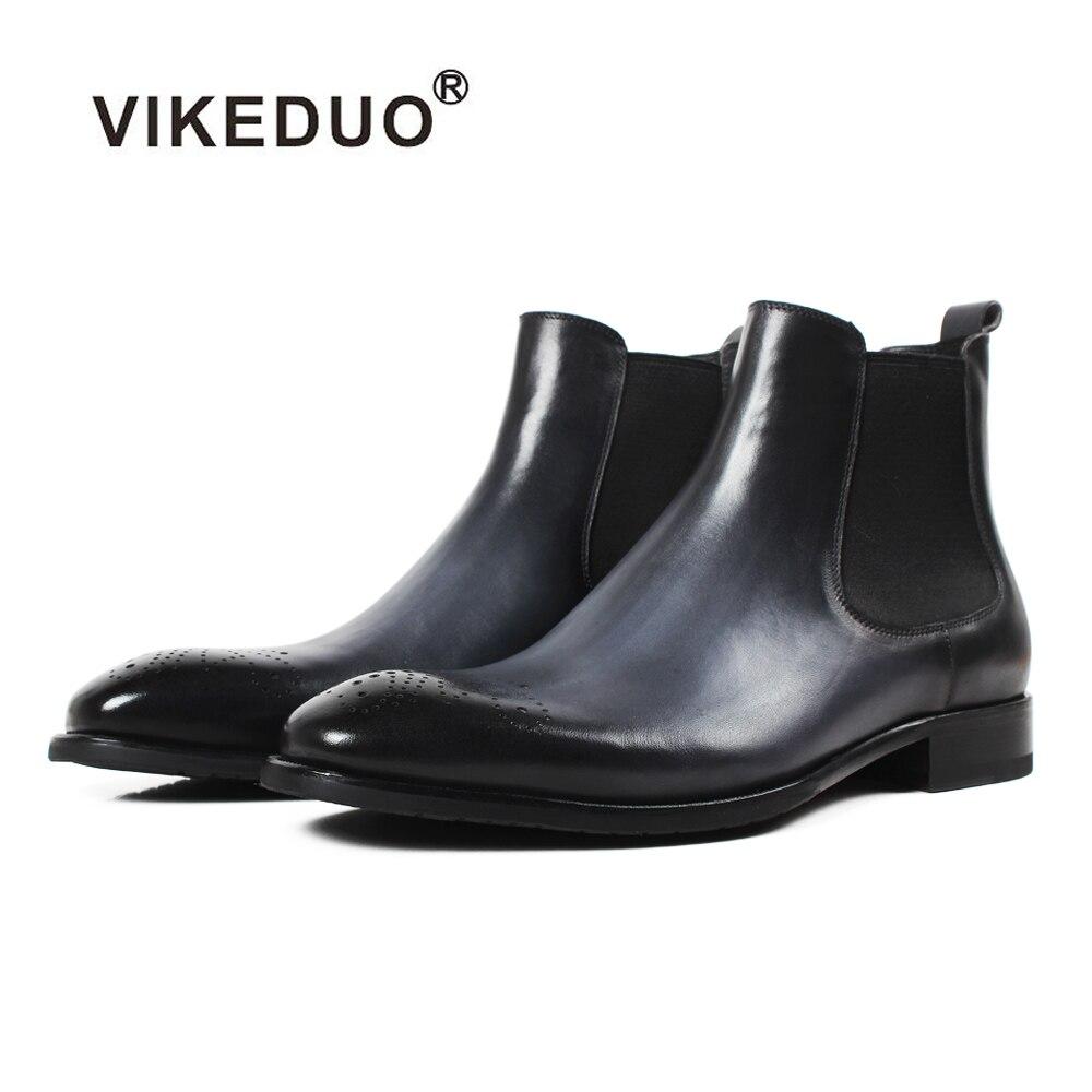 Vikeduo 2019 Nouveau Hommes Chelsea Bottes Patchwork Évider Chaussures Hommes En Cuir Véritable Bota Masculina Solide Vintage Mâle Chaussures Botine