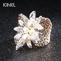 2017 New Luxury White Pearl Ring Plating Gold Retro Unique Fashion Womens Rings Vintage Jewelry