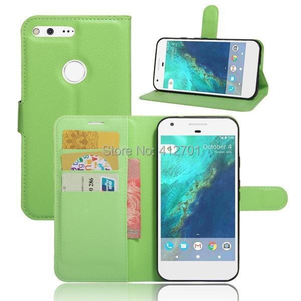 50Pcs/Lot Litchi Lychee Wallet Stand Flip PU+Soft TPU Case For Google Pixel 5.0