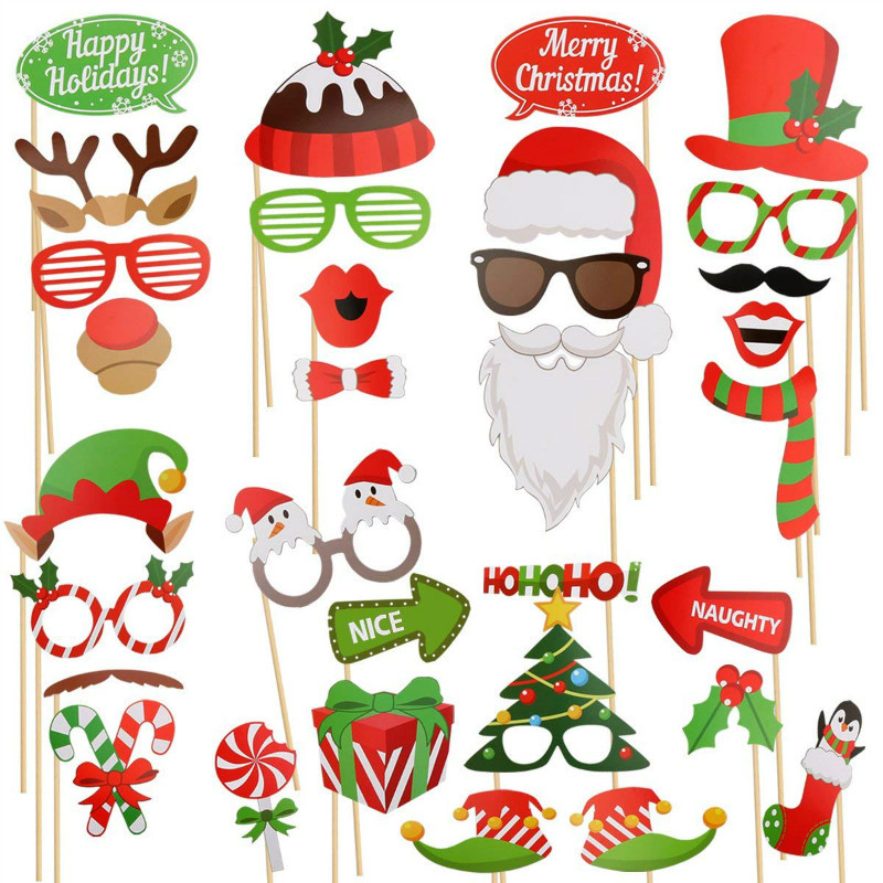 50PCs/Set 2019 Hot Sales Christmas Photo Booth Props Kit Masks Lips Beard Snowman Wedding Christmas Party Decoration Supplies