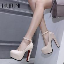NIUFUNI/женские туфли-лодочки; свадебные туфли; вечерние туфли-лодочки Mary Jane с ремешком на щиколотке; женская обувь на платформе; обувь для работы на толстом каблуке; Цвет черный, бежевый