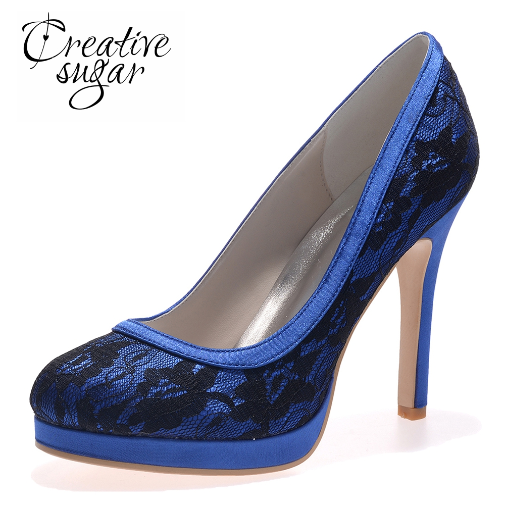 Creativesugar Elegant woman lace wedding blue black white high heel dress  shoes party prom graduation pumps 25c405f790c1