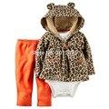 2017 Baby boy Ternos grls Leopard Conjuntos de Roupas Bebê Recém-nascido 3 pçs/lote Casaco + Macacão + Calças Crianças Bebê Infantil Conjuntos femininos