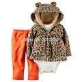2017 Baby boy grls Костюмы Leopard Детская Одежда Для Новорожденных Наборы 3 шт./лот Пальто + Комбинезон + Брюки Дети Детские Наборы