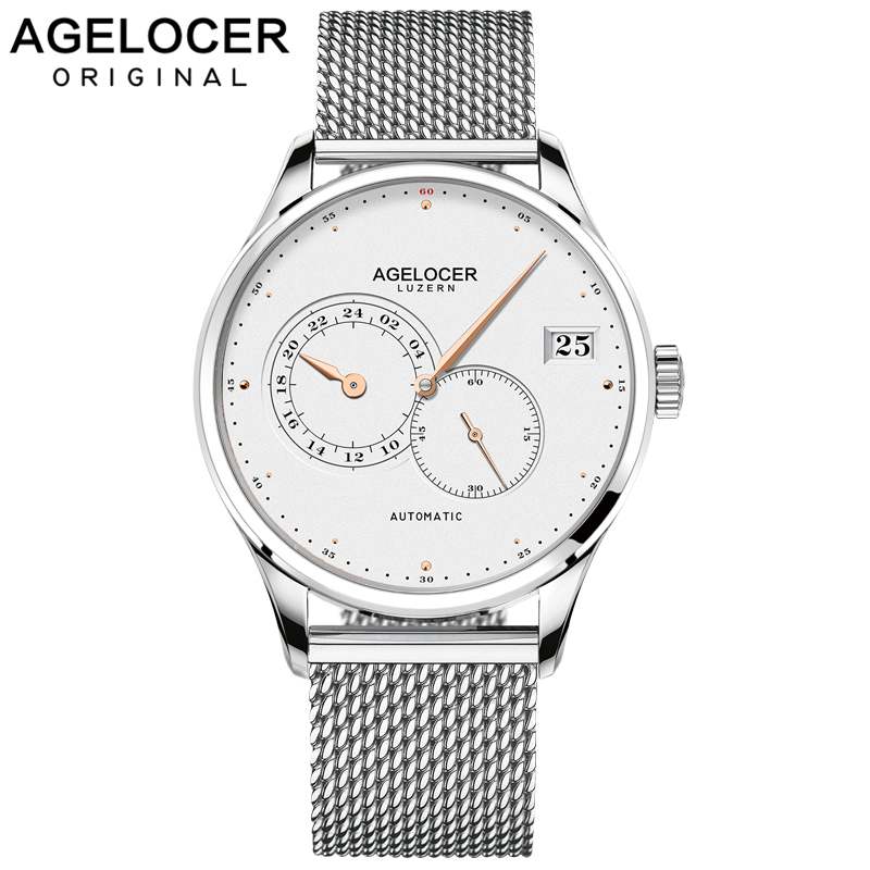 AGELOCER Swiss Men Automatic Watches Luxury Unique Hands Date Steel Sport Watch Men Relojes Mechanical Watch Relogio MasculinoAGELOCER Swiss Men Automatic Watches Luxury Unique Hands Date Steel Sport Watch Men Relojes Mechanical Watch Relogio Masculino