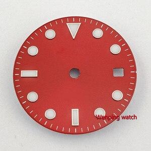 Image 4 - Bliger 28.5mm אין לוגו זוהר תאריך חלון אדום שעון חיוג fit ETA 2824 2836 MIYOTA 8215 821A Mingzhu DG2813 אוטומטי תנועה